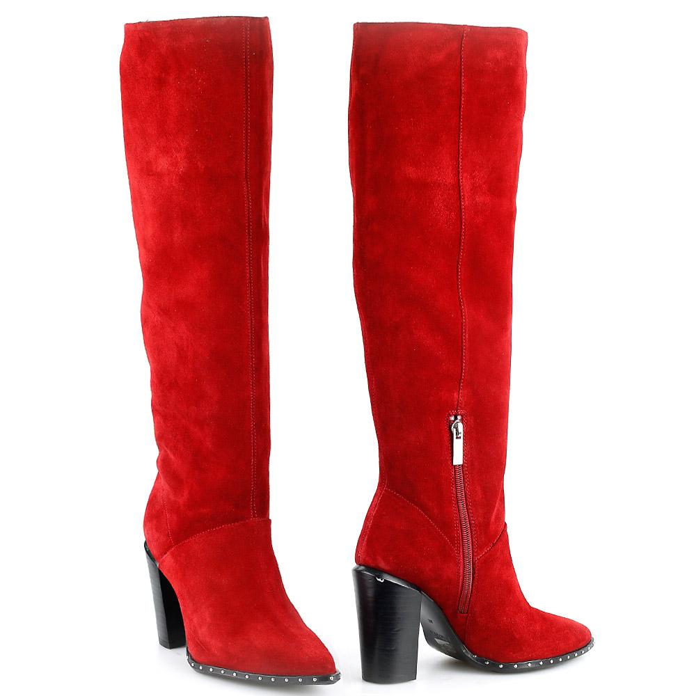 Bronx 14141 hoge laarzen rood suede met studs