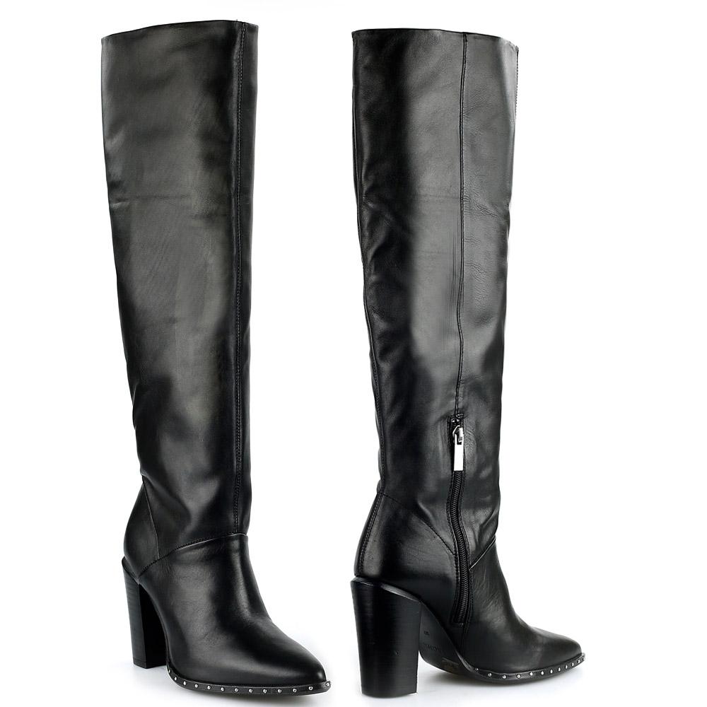 Bronx 14141 hoge laarzen zwart met studs in zoolrand