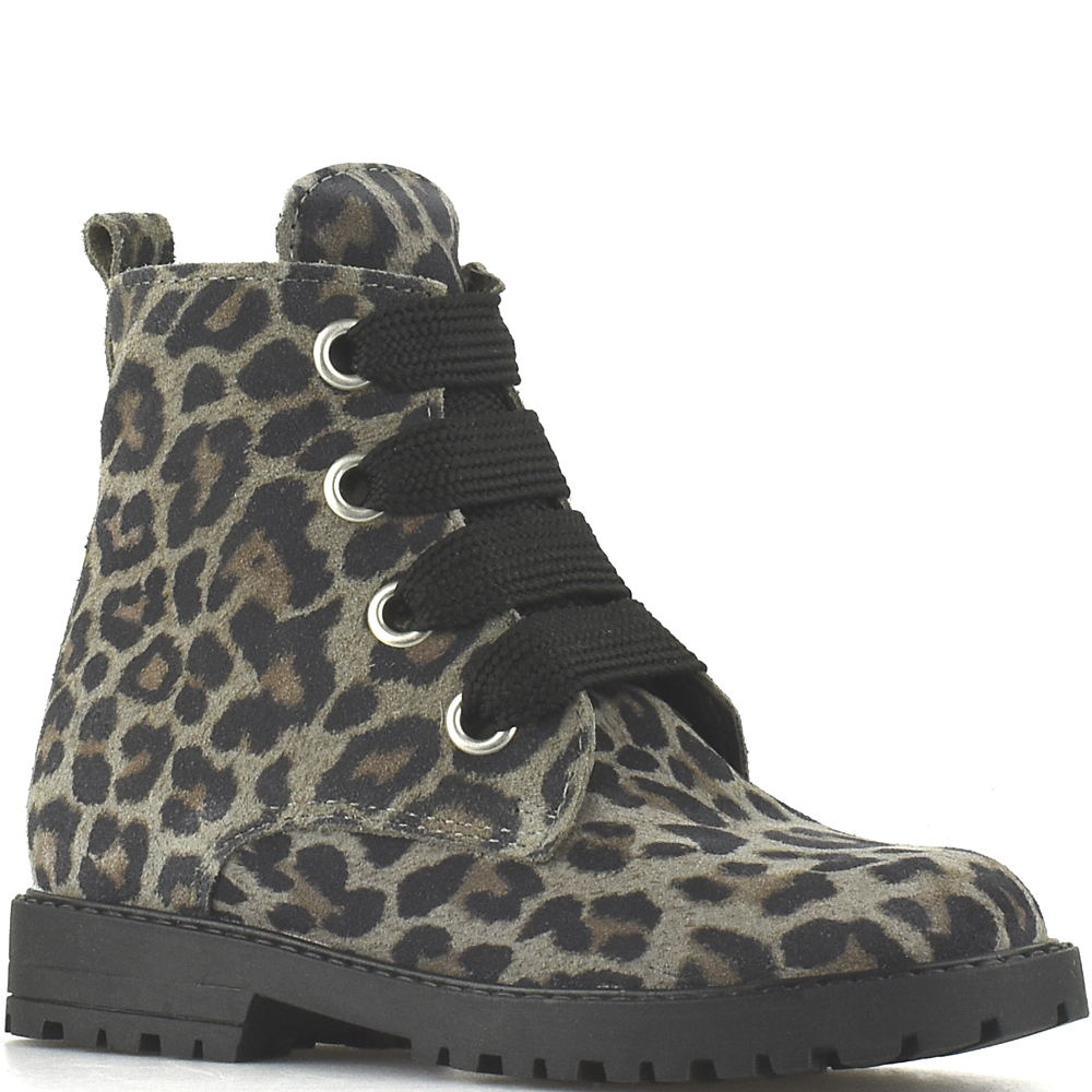 Clic! veterlaarsjes 9596 Leopardo Gaype Ceniza grijs suède met luipaardprint