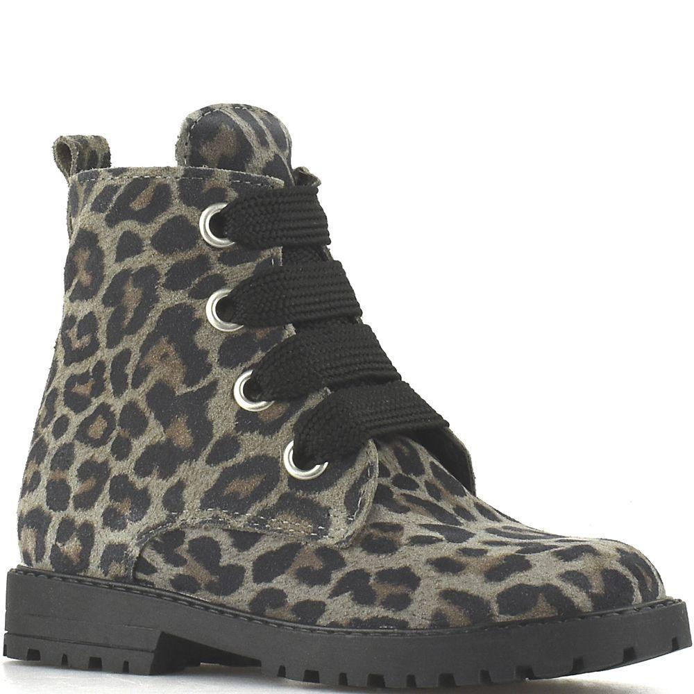 6d19013845a Clic! veterlaarsjes 9596 Leopardo Gaype Ceniza grijs suède met luipaardprint
