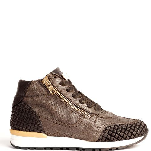 Hip Kinderschoenen.Mimpi Sneakers Bruin H1547 Met Ritssluiting Voor Meisjes