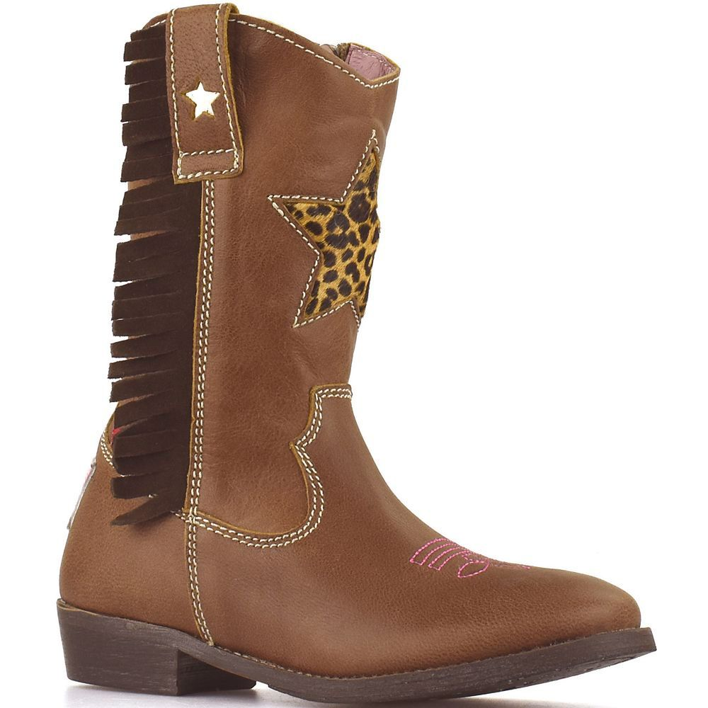 8db5a97abf4b7a Shoesme cowboylaarsjes WT8W112-A Brown bruin met panterster en franjes