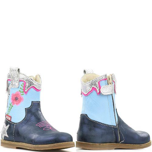 b40941b8b0c Shoesme enkellaarsjes BL8S123-B Blue blauw met bloemen en zebra