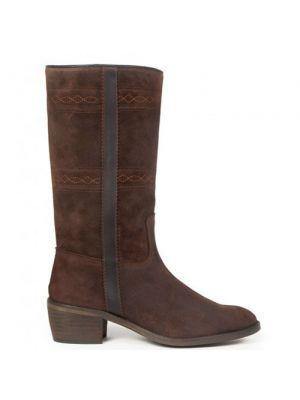 Andaluxx lange laarzen suede dames Alba brown ton sur ton stiksel
