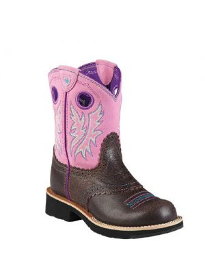 Ariat Fatbaby Cowgirl Boot Roughed Chocolate / Bubblegum