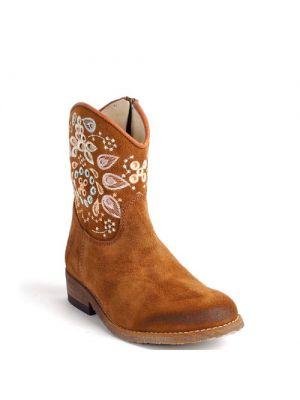 Clic! boots 8991 donkerbruin met bloem borduur