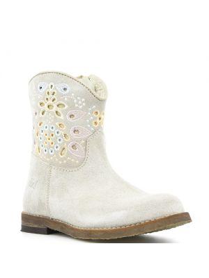 Clic! laarzen 8983 Creme met kleurrijk borduursel