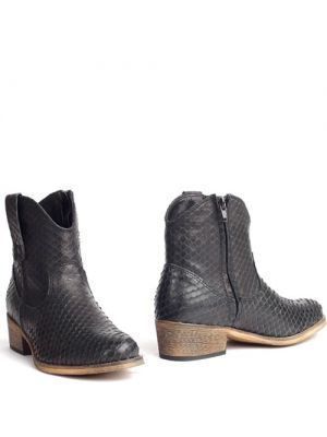 Cowboyboots snakeprint ronde neus zwart