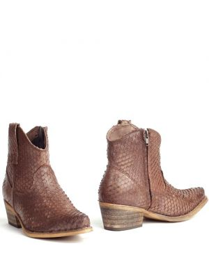 Cowboyboots snakeprint spitse neus bruin