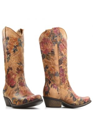 DWRS High Texas 20532 cowboylaarzen cognac flower