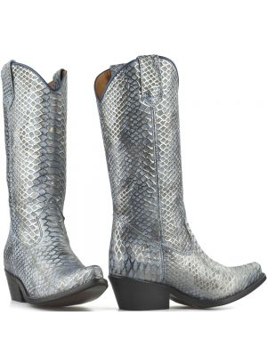 DWRS High Texas 20532 cowboylaarzen snake lichtblauw met goud