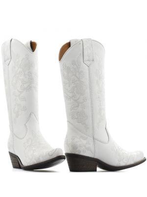 DWRS High Texas 20532 cowboylaarzen - weddingboots wit met bloemen