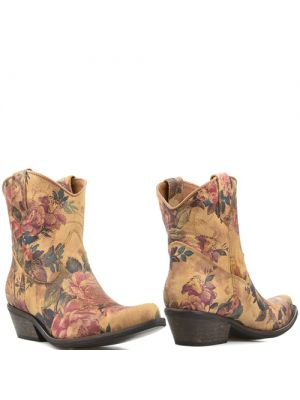 DWRS Low Texas 23145 cowboylaarsjes cognac flower