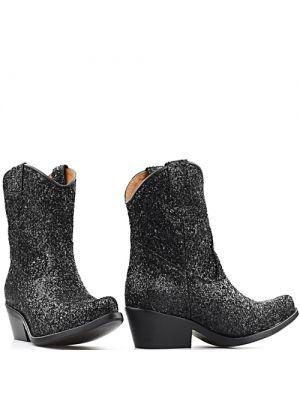 DWRS Low Texas 23145 cowboylaarsjes zwart met glitter