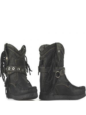 El Vaquero Enkellaarsjes Arya Punk Black in zwart leder