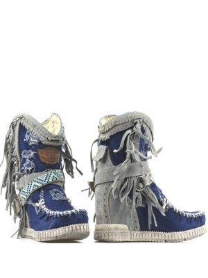 El Vaquero Enkellaarsjes Arya in Destroyed Denim blauw