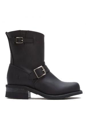 Frye Women's Engineer 8R Black Leather Boots   Zwarte laarzen