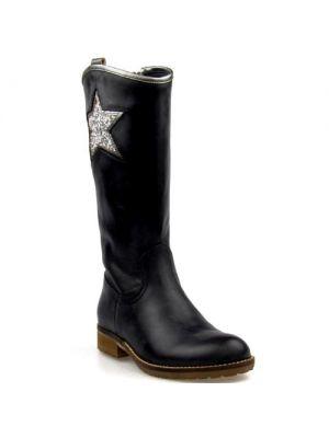 Hip hoge laarzen met ster zwart H1335
