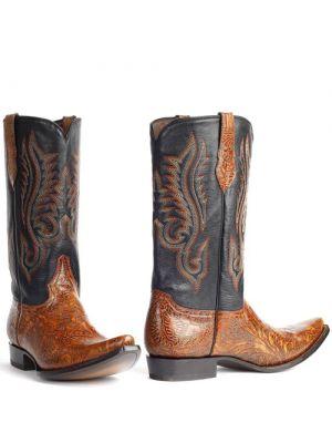 Mboots heren cowboylaars Floral Tooled cognac