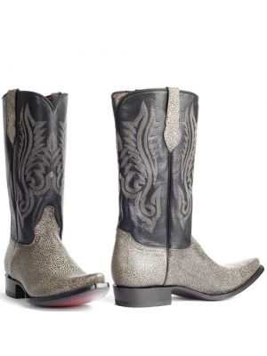 Mboots heren cowboylaars Stingray Bone zwart