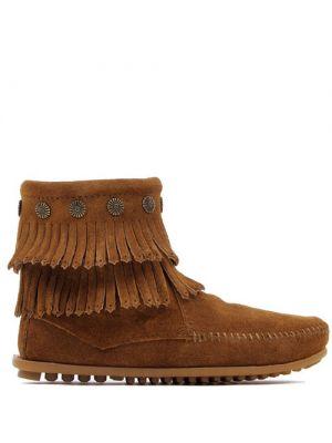 Minnetonka Double Fringe boots dusty brown Side Zip 693