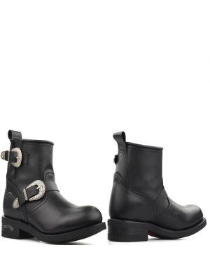 Sendra 12877 Pull Oil Negro biker boots zwart met western gespen
