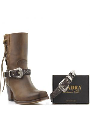 Sendra boot belts Arnes 569 bruin gevlochten met zilveren western gesp