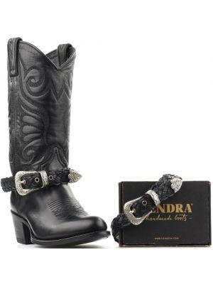 Sendra boot belts Arnes 569 zwart gevlochten met zilveren western gesp