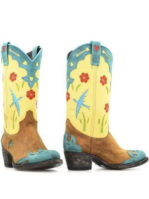 Sendra cowboylaarzen 14807 Turquesa Lavado camel met zacht geel en turquoise