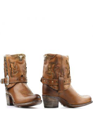 Sendra korte cowboylaarsjes 15249 bruin met westernbuckle