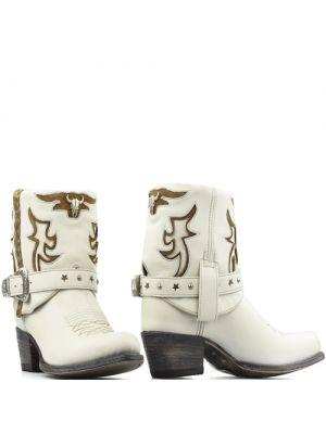 Sendra korte cowboylaarsjes 15249 wit met westernbuckle