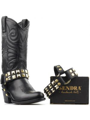 Sendra laarzenspoor Arnes 297 zwart met gouden studs