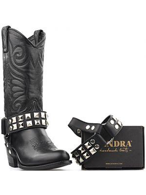 Sendra laarzenspoor Arnes 297 zwart met zilveren studs