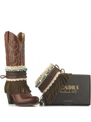 Sendra laarzenspoor Arnes 564 Ibizastyle bruin met franjes