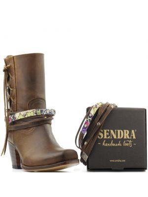 Sendra laarzenspoor met bruine veters en bronzen studs