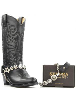 Sendra laarzenspoor met zilveren sterren concho's zwart