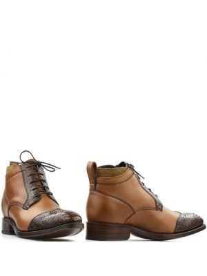 Sendra lage western schoen 15669P cognac bruin met python
