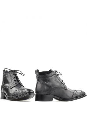 Sendra lage western schoen 15669P zwart grijs met python