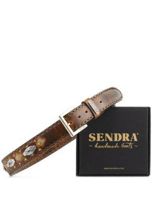 Sendra riem 1214 bruin gevlamd met zilveren concho's