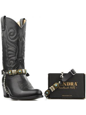 Sendra boot belts Arnes 50 zwart met zilver en brons sierbeslag