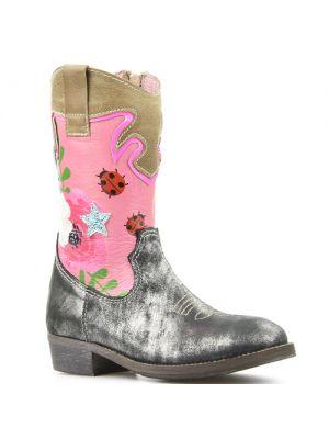 Shoesme cowboylaarsjes WT7W112-B Silver zilver met bloemen