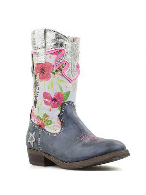 Shoesme cowboylaarsjes WT8S122-B Blue blauw met bloemen en zebra