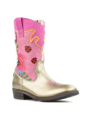 Shoesme cowboylaarsjes WT8S122-A Gold goud met bloemen en lieveheersbeestjes