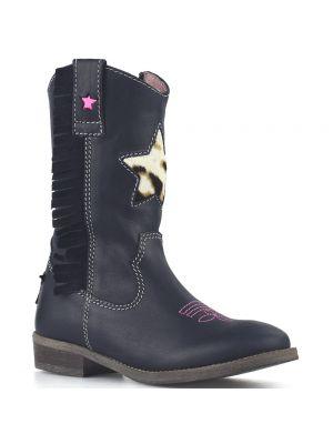Shoesme cowboylaarsjes WT8W112-B Marino blauw met panterster en franjes