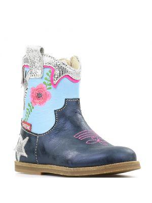 Shoesme enkellaarsjes BL8S123-B Blue blauw met bloemen