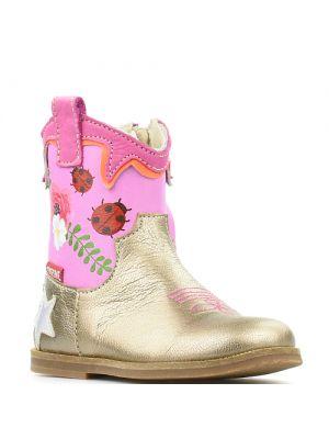 Shoesme enkellaarsjes BL8S123-A Gold-Pink roze goud met bloemen