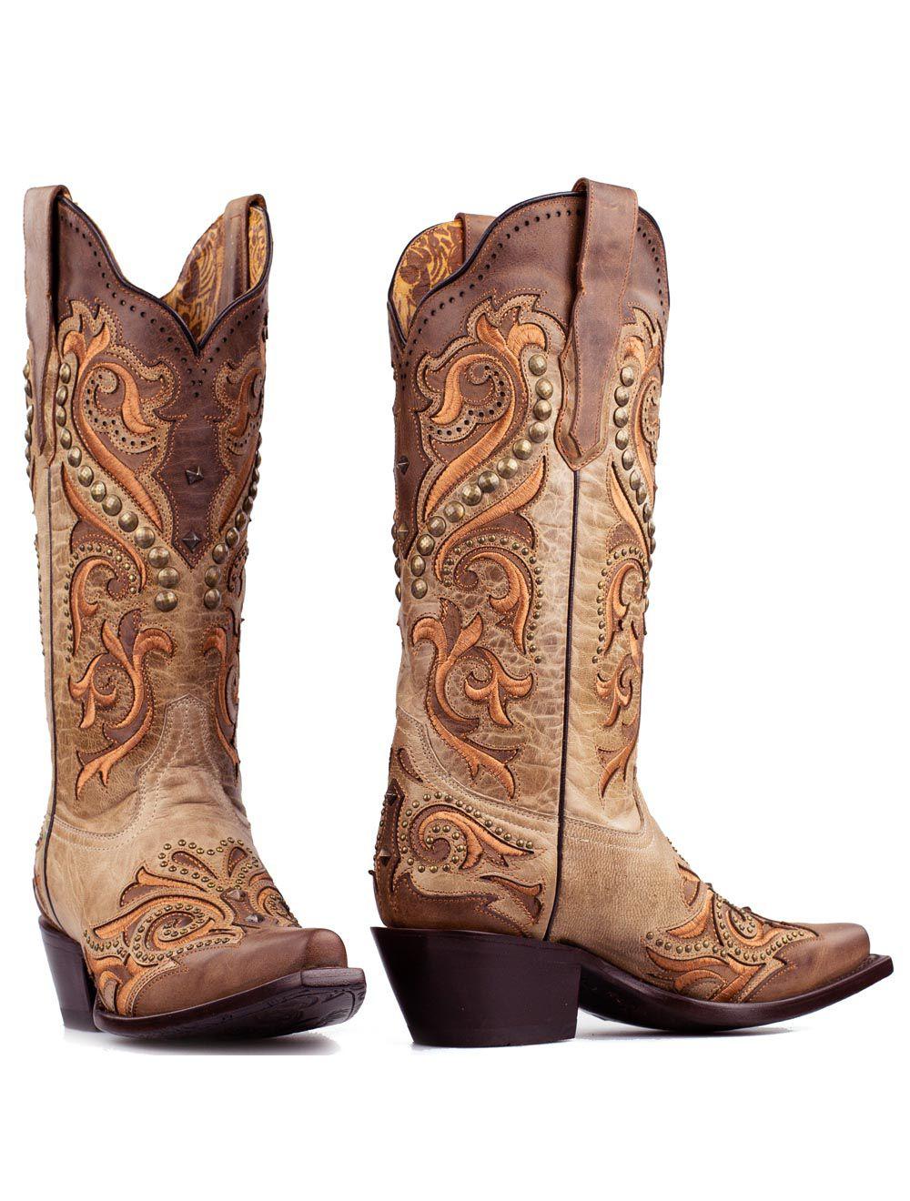 Corral boots bruin met studs