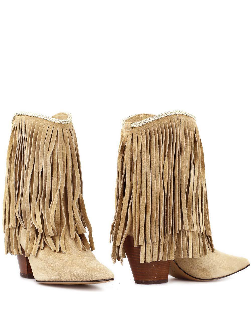Halfhoge laarzen met franjes Suede Camel