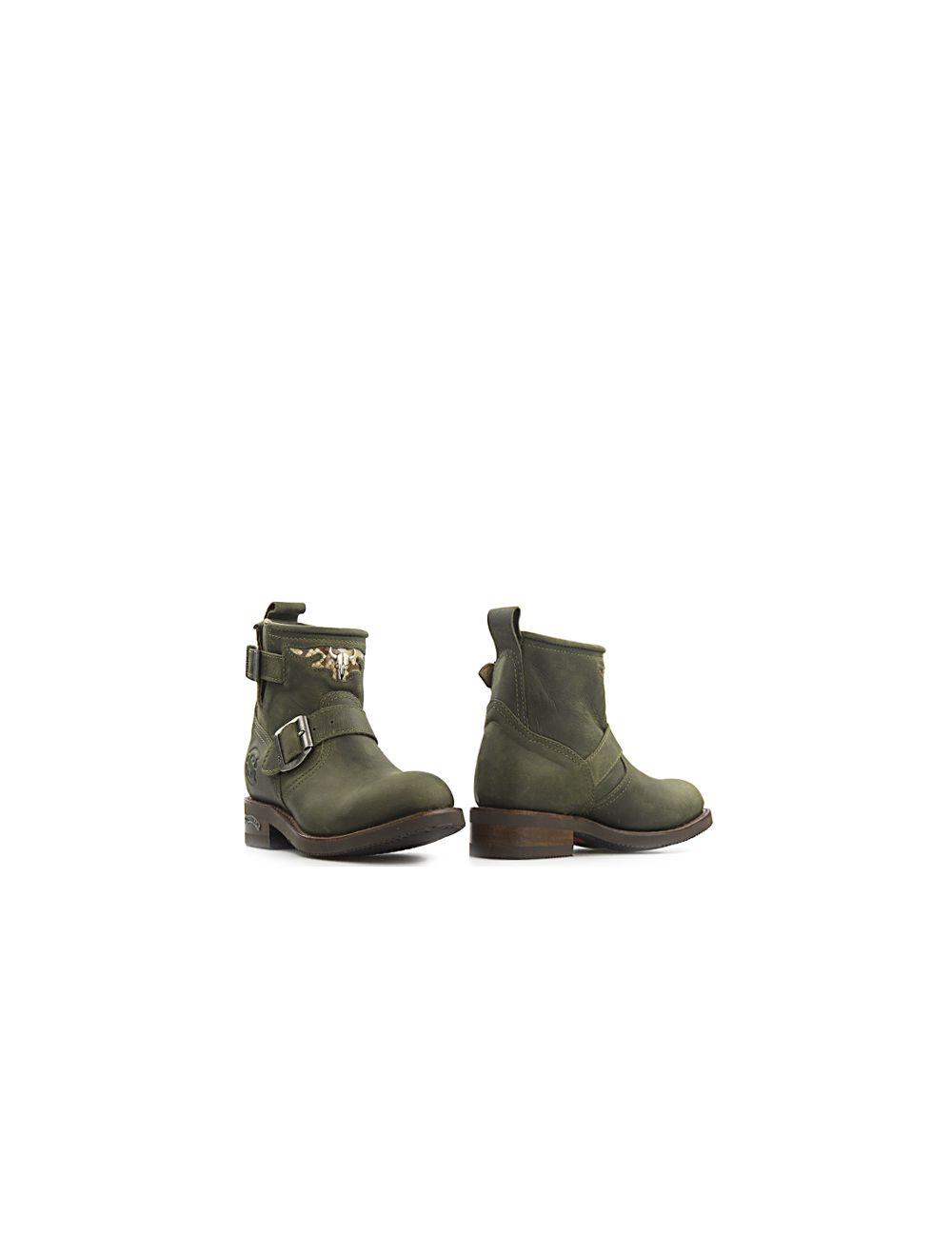 Sendra biker boots Carol Military 12620 legergroen